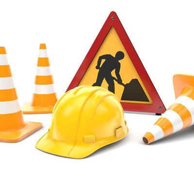 Safety Hazard Cones Hardhat Workers